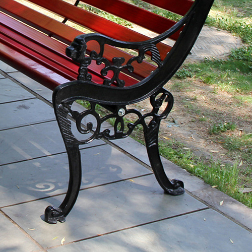 Outdoor Cast Iron Wooden Garden Bench Image 6