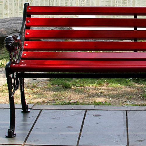 Outdoor Cast Iron Wooden Garden Bench Image 7
