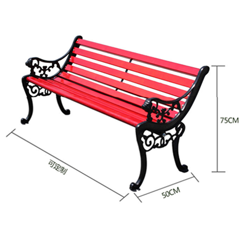 Outdoor Cast Iron Wooden Garden Bench Image 8