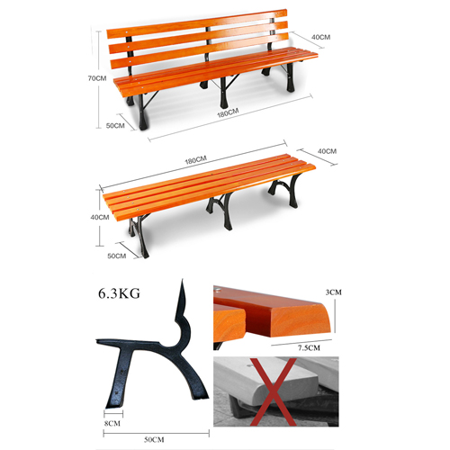 Eco Long Composite Wood Bench Image 9