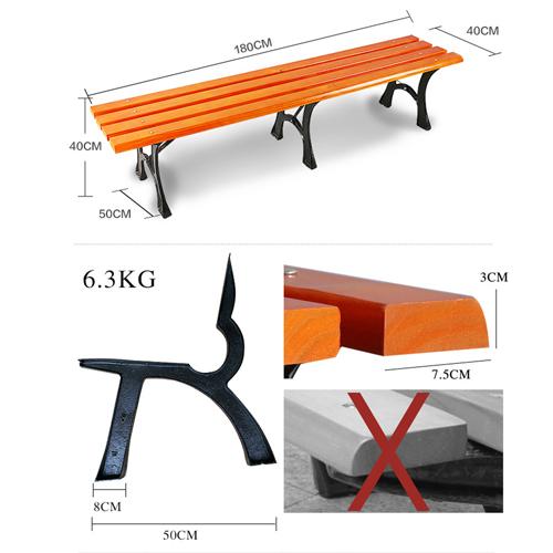 Valreda Backless Wood Park Bench Image 10