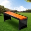 Metal Garden Bench With Wooden Upholstered