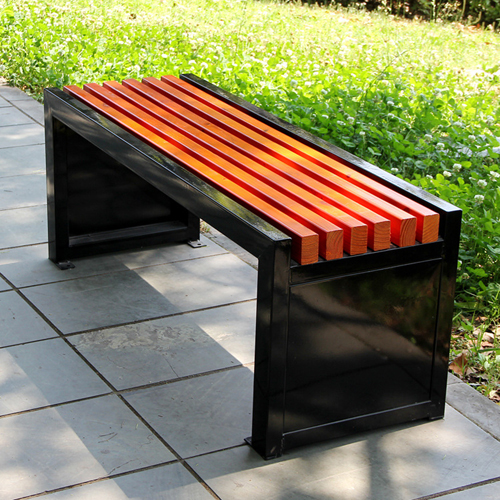 Metal Garden Bench With Wooden Upholstered Image 1