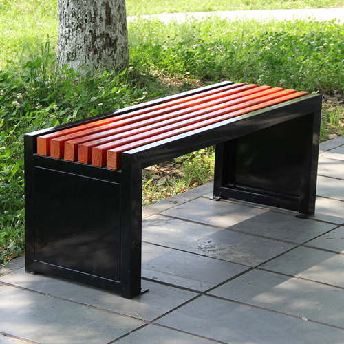 Metal Garden Bench With Wooden Upholstered Image 4