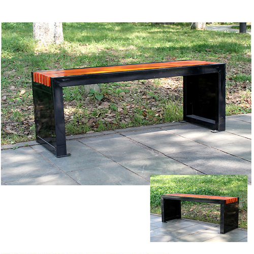 Metal Garden Bench With Wooden Upholstered Image 6