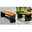 Metal Garden Bench With Wooden Upholstered Image 7