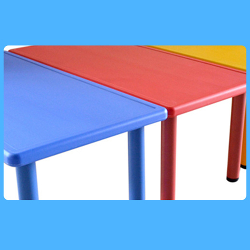 Kindergarten Plastic Rectangle Table With Six Chair Image 10