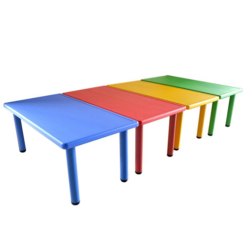 Kindergarten Plastic Rectangle Table With Six Chair Image 1