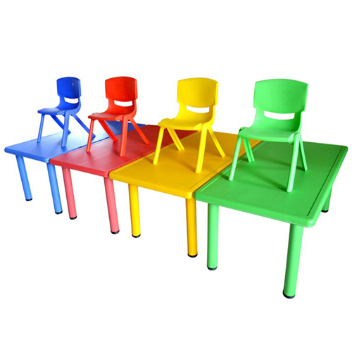 Kindergarten Plastic Rectangle Table With Six Chair Image 2