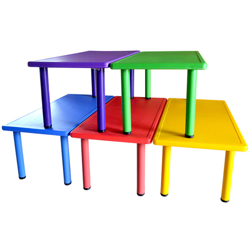 Kindergarten Plastic Rectangle Table With Six Chair Image 3
