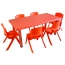 Kindergarten Plastic Rectangle Table With Six Chair
