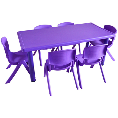Kindergarten Plastic Rectangle Table With Six Chair Image 4