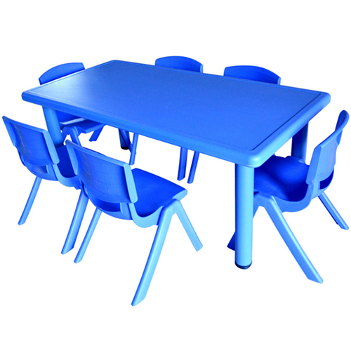 Kindergarten Plastic Rectangle Table With Six Chair Image 5