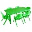 Kindergarten Plastic Rectangle Table With Six Chair Image 6