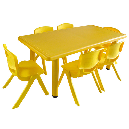 Kindergarten Plastic Rectangle Table With Six Chair Image 7