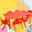 Kindergarten Plastic Rectangle Table With Six Chair Image 8