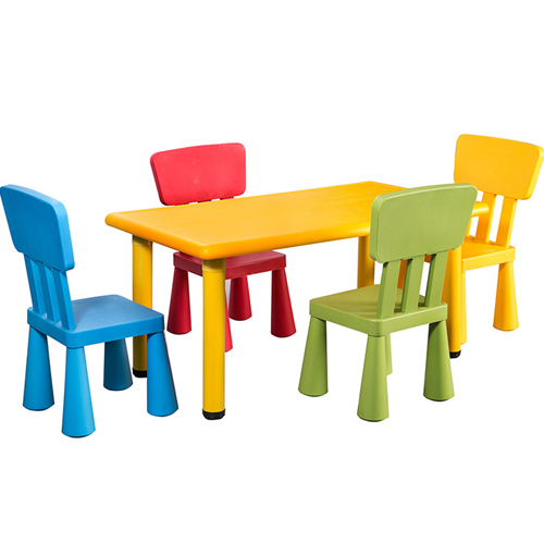 Kindergarten Rectangular Table and 4 Chairs Set Image 1