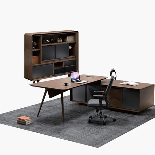 Creative Walnut Manager Desk Image 7