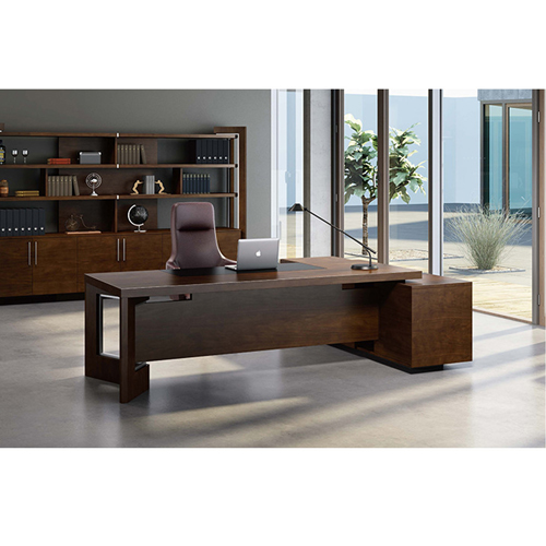 Wooden Executive Table with Side Cabinet Image 9