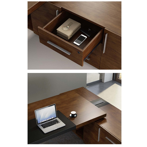 Wooden Executive Table with Side Cabinet