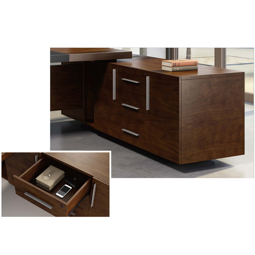 Wooden Executive Table with Side Cabinet Image 15