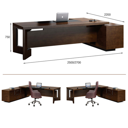 Wooden Executive Table with Side Cabinet Image 16