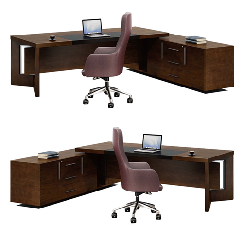 Wooden Executive Table with Side Cabinet Image 6