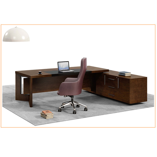 Wooden Executive Table with Side Cabinet Image 8