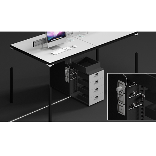 Four Person Work Staff Table With Screen Partition Image 11
