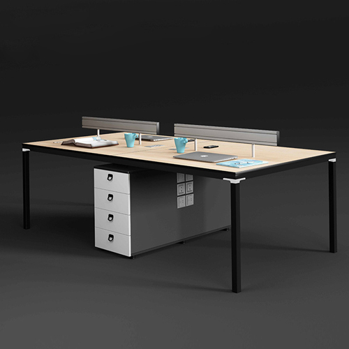 Four Person Work Staff Table With Screen Partition Image 1