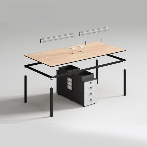 Four Person Work Staff Table With Screen Partition Image 2