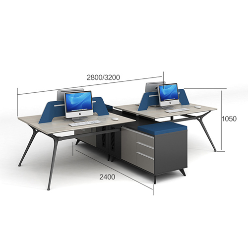 Minimalist Screen Partition Desk with Cabinet Image 11