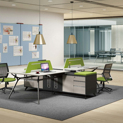 Minimalist Screen Partition Desk with Cabinet