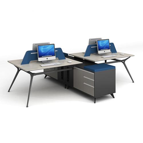 Minimalist Screen Partition Desk with Cabinet Image 1