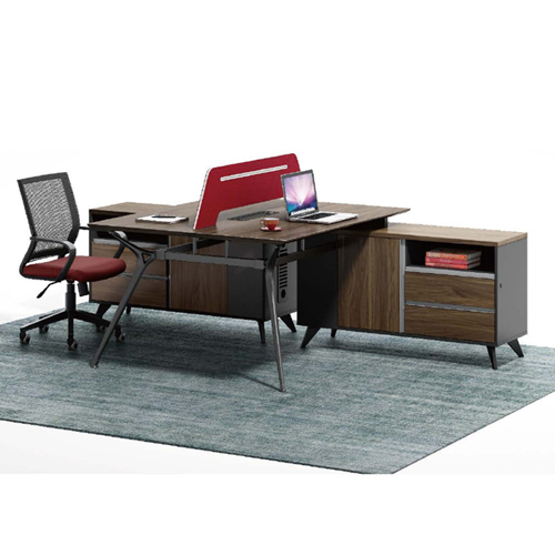 Minimalist Screen Partition Desk with Cabinet Image 2