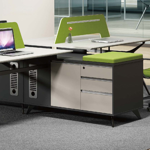 Minimalist Screen Partition Desk with Cabinet Image 3
