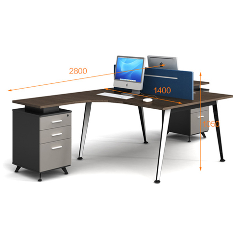 Corner Style Workstation with Fabric Partition Image 10