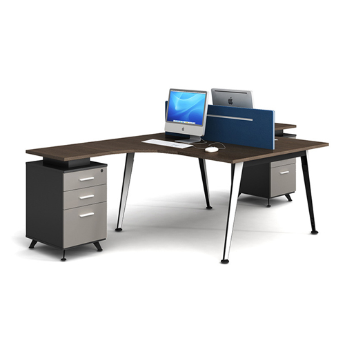 Corner Style Workstation with Fabric Partition Image 1