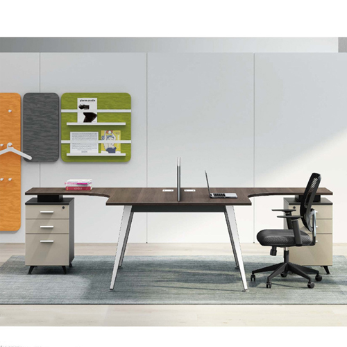 Corner Style Workstation with Fabric Partition Image 2