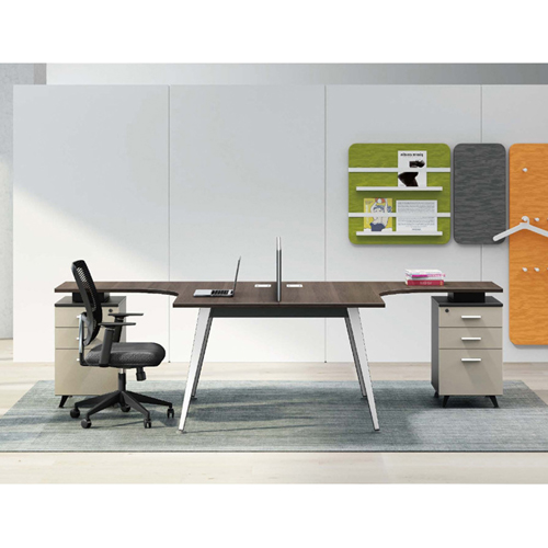 Corner Style Workstation with Fabric Partition Image 4