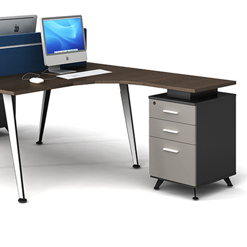Corner Style Workstation with Fabric Partition Image 5