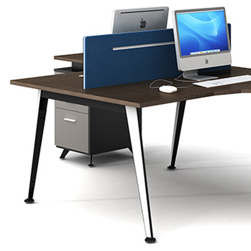 Corner Style Workstation with Fabric Partition Image 6