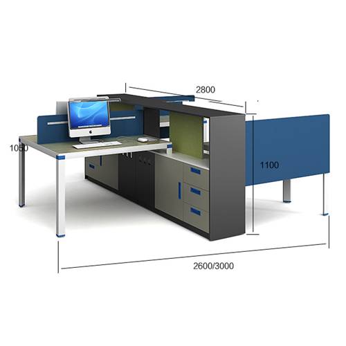 Computer Table Screen Staff Desk with Cabinet Image 11