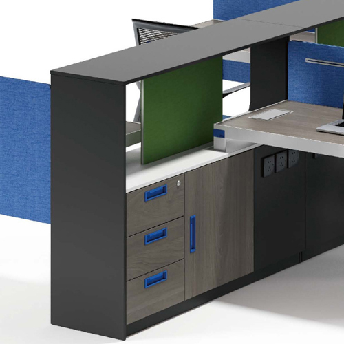 Computer Table Screen Staff Desk with Cabinet Image 2