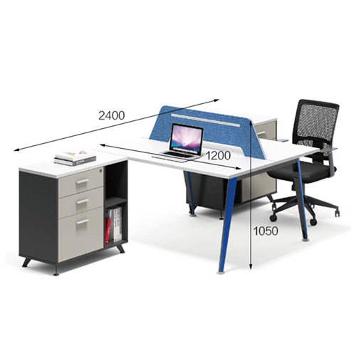 Modern Two Seater Office Staff Desk with Drawer Image 10