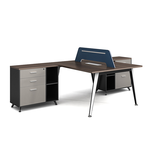 Modern Two Seater Office Staff Desk with Drawer Image 2
