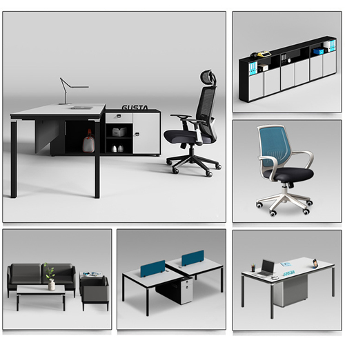 Modern Two Seater Office Staff Desk with Drawer Image 3