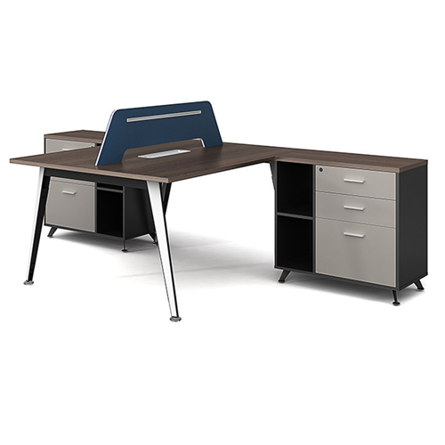 Modern Two Seater Office Staff Desk with Drawer Image 6