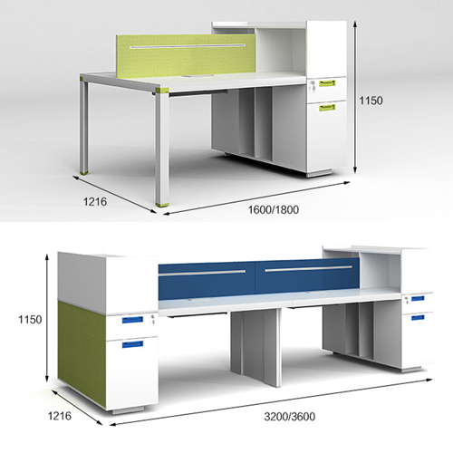 Screen Partition Staff Desk with Side Storage Image 13