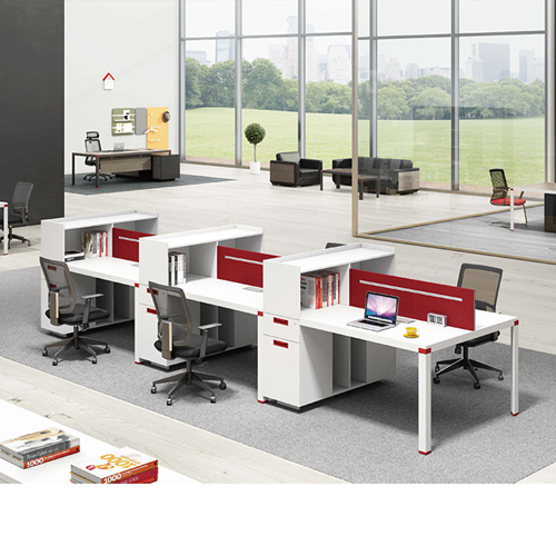 Screen Partition Staff Desk with Side Storage Image 1